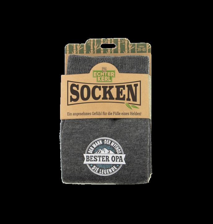 History & Heraldry Design Bambus Socken mit Titel: Bester Opa  - fuer Männer 39 - 45 / nachhaltig - Geschenk - individuell mit Namen und Spruch