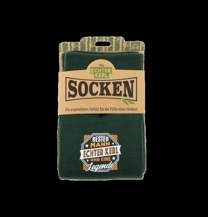 History & Heraldry Design Bambus Socken mit Titel:  Echter Kerl   - fuer Männer 39 - 45 / nachhaltig - Geschenk - individuell mit Namen und Spruch