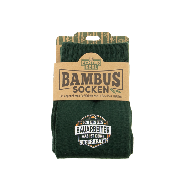 History & Heraldry Design Bambus Socken mit Titel: Bauarbeiter    - fuer Männer 39 - 45 / nachhaltig - Geschenk - individuell mit Namen und Spruch