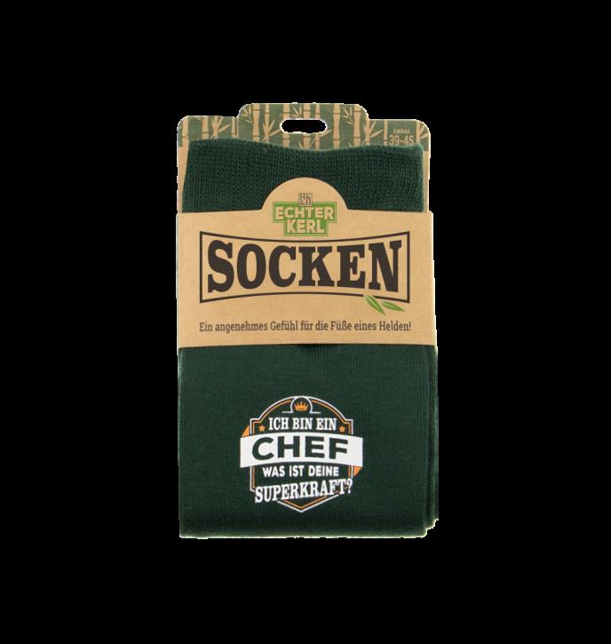 History & Heraldry Design Bambus Socken mit Titel: Chef   - fuer Männer 39 - 45 / nachhaltig - Geschenk - individuell mit Namen und Spruch
