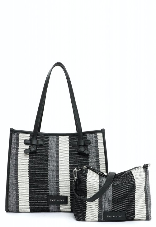 EMILY & NOAH Damentaschen Handtaschen City Shopper Esther black-stripes 35x14x28cm