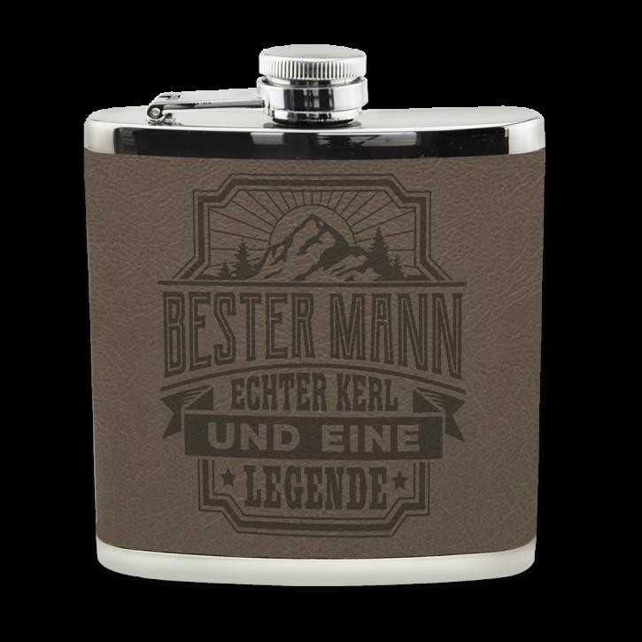 Echter Kerl Flachmann Bester Mann  für Outdoor und Camping Geschenk für Männer - Leder