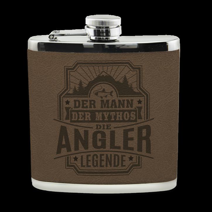 Echter Kerl Flachmann Angler für Outdoor und Camping Geschenk für Männer - Leder