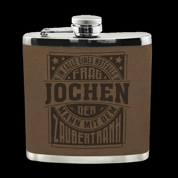 Edelstahl Echter Kerl Flachmann Jochen für Outdoor und Camping Geschenk für Männer - Leder
