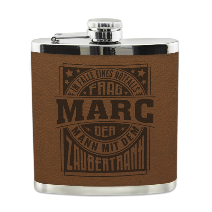 EdelstahlEchter Kerl Flachmann Marc  für Outdoor und Camping Geschenk für Männer - Leder