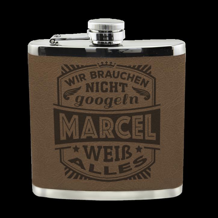 Echter Kerl Flachmann Marcel für Outdoor und Camping Geschenk für Männer - Leder
