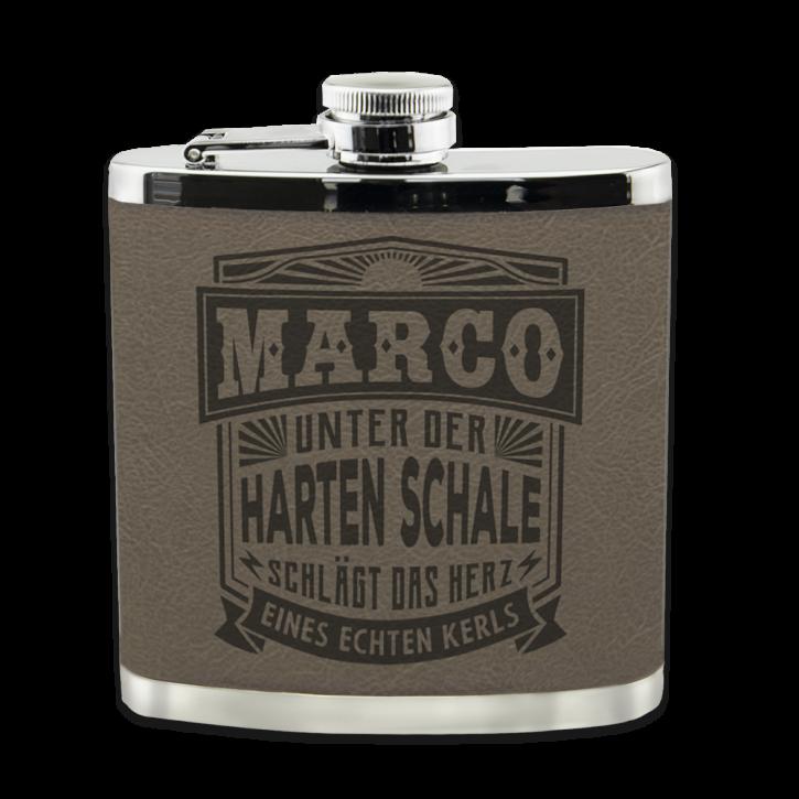 Echter Kerl Flachmann Marco für Outdoor und Camping Geschenk für Männer - Leder