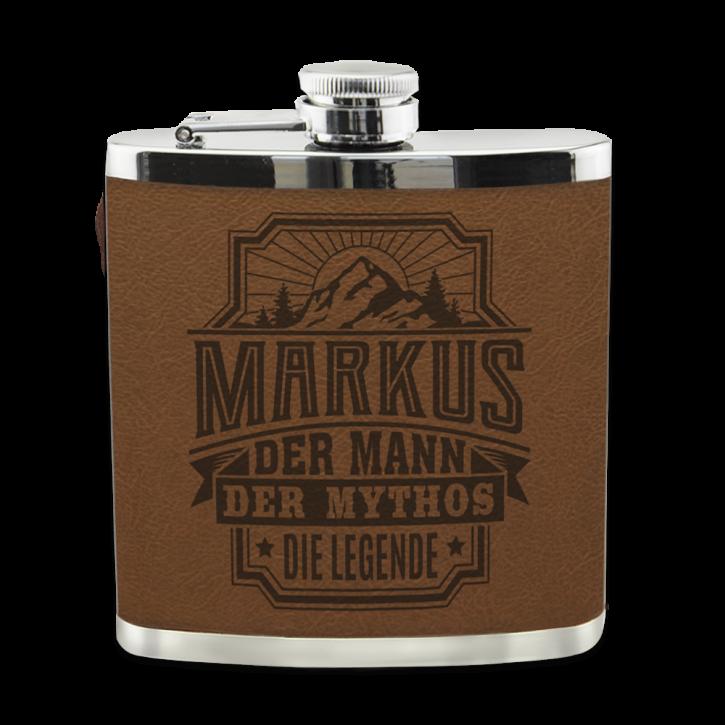 Edelstahl Echter Kerl Flachmann Markus für Outdoor und Camping Geschenk für Männer - Leder