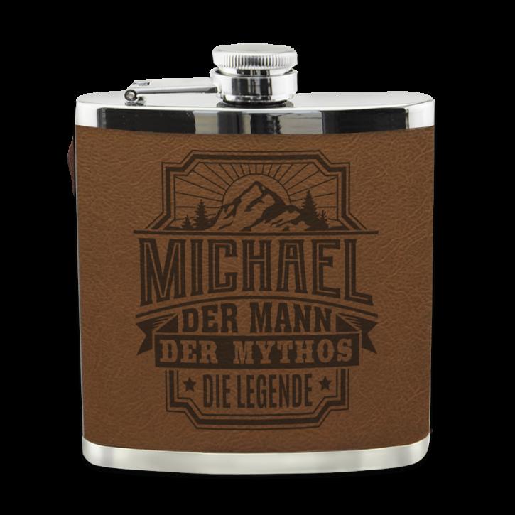 Echter Kerl Flachmann Michael für Outdoor und Camping Geschenk für Männer - Leder