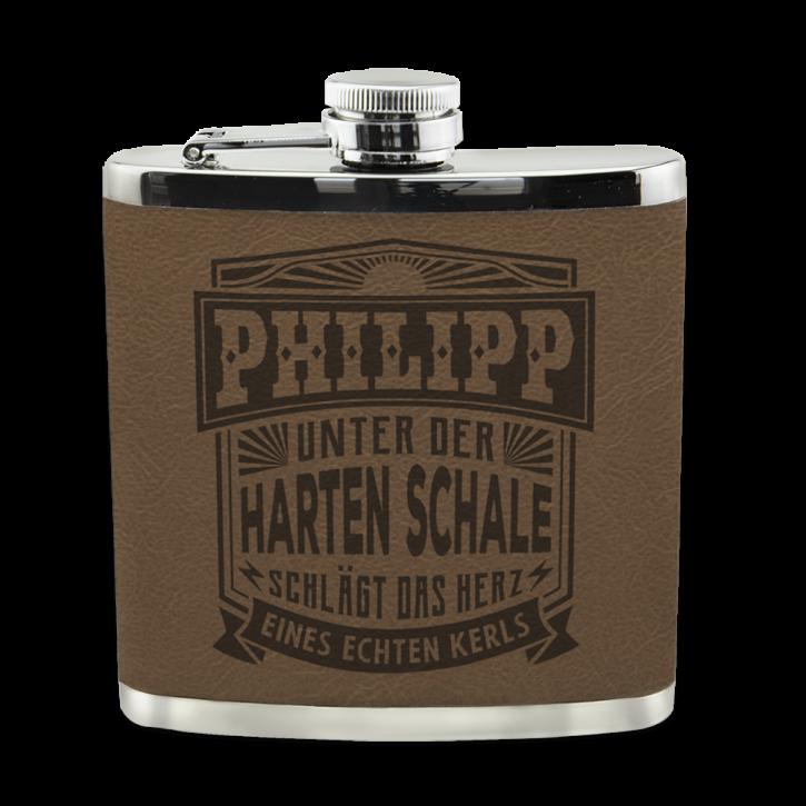 Echter Kerl Flachmann Philipp für Outdoor und Camping Geschenk für Männer - Leder