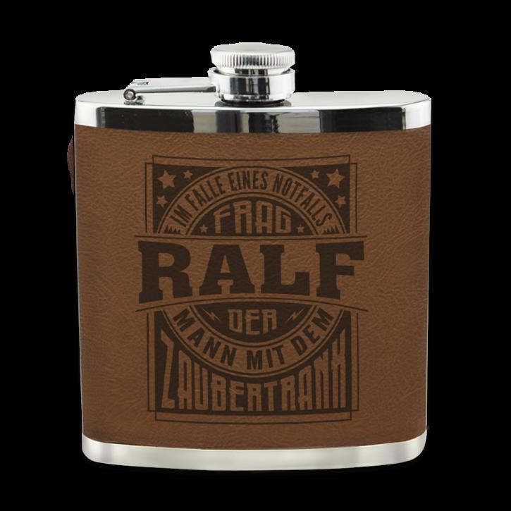 Echter Kerl Flachmann Ralf für Outdoor und Camping Geschenk für Männer - Leder