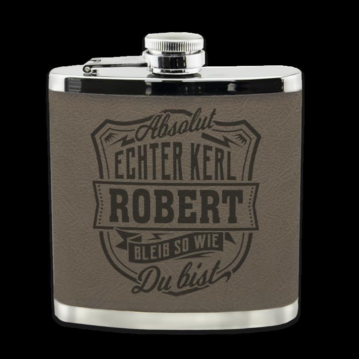 Echter Kerl Flachmann Robert für Outdoor und Camping Geschenk für Männer - Leder