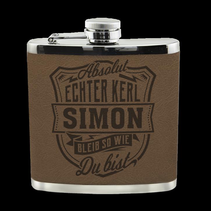Edelstahl Echter Kerl Flachmann Simon für Outdoor und Camping Geschenk für Männer - Leder