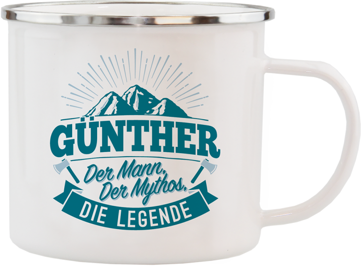 H&H Echter Kerl Emaille Becher Guenther