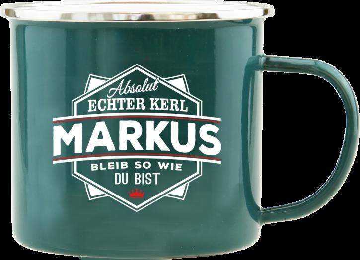 H&H Echter Kerl Emaille Becher Markus