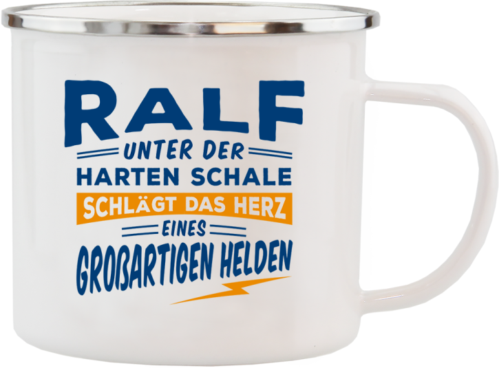 H&H Echter Kerl Emaille Becher Ralf