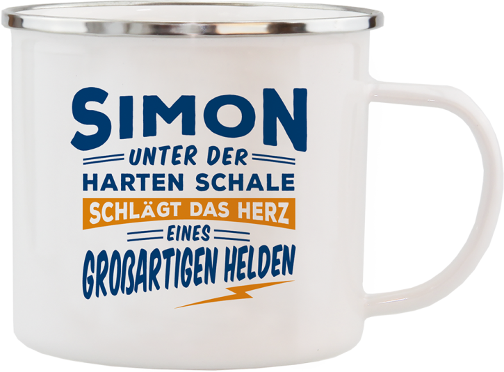H&H Echter Kerl Emaille Becher Simon
