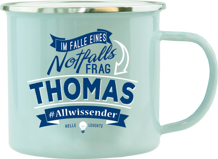 H&H Echter Kerl Emaille Becher Thomas