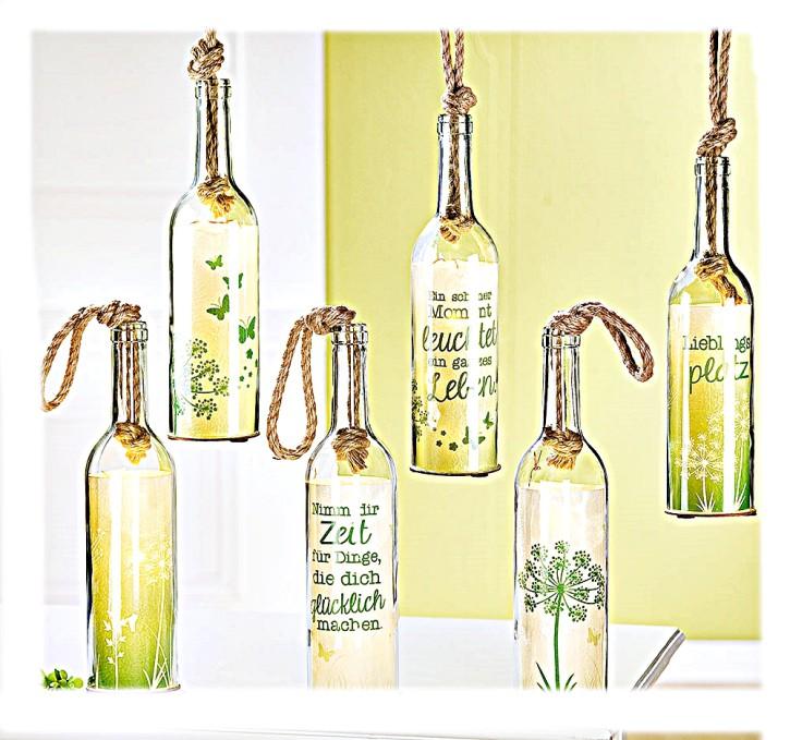 Flaschenpost Spring Deko Flasche aus Glas mit 5-LED Lämpchen und Timer sortierter Artikel Lieferumfang 1 Stück