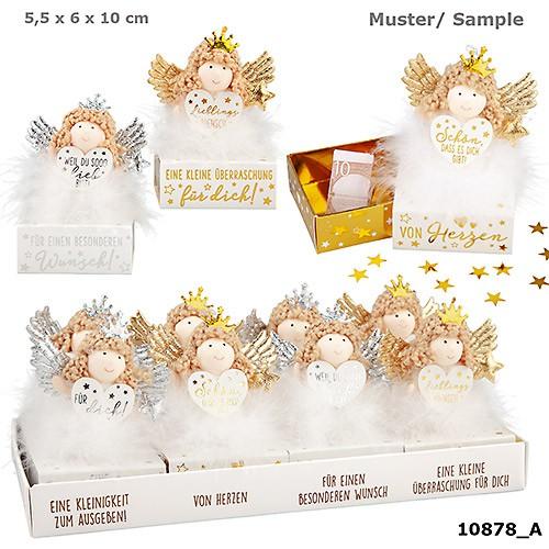 WUNSCHERFÜLLER Engelfigur mit goldene Flügel auf Box 1 Stück von 4