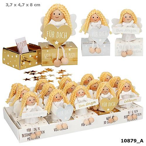 WUNSCHERFÜLLER Engelfigur auf Box 1 Stück von 5