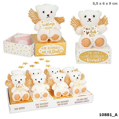 WUNSCHERFÜLLER Bärchen mit goldene Flügel auf Box 1 Stück von 4