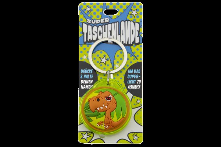 Super Taschenlampe Charakter Dino   - Schluessel Anhaenger auch fuer Schulranzen - als Geschenk - individuell mit Namen und Spruch