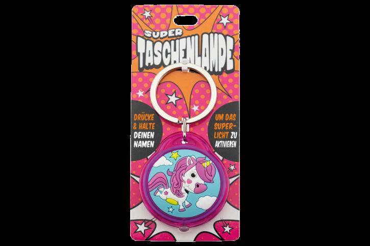 Super Taschenlampe mit Titel:  Charakter Einhorn - Schluessel Anhaenger auch fuer Schulranzen - als Geschenk - individuell mit Namen und Spruch