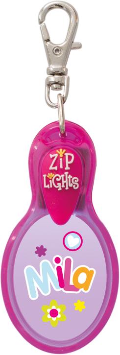 John Hinde Zip Light mit Namen Mila
