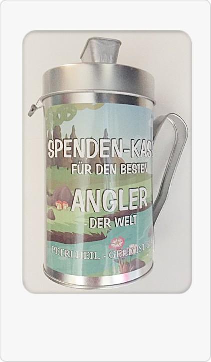 Spardose Spendenkasse mit Spruch für Angler