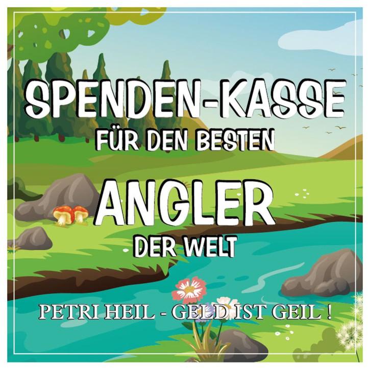 Aufkleber Etikett Spenden-Kasse für Angler