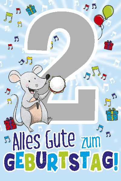 Depesche Zahlenkarten mit Musik 2 Alles Gute zum Geburtstag! - blau