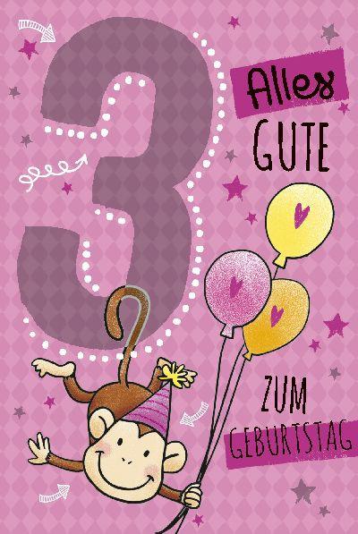 Depesche Zahlenkarten mit Musik 3 Jahre Alles Gute zum Geburtstag  in rosa