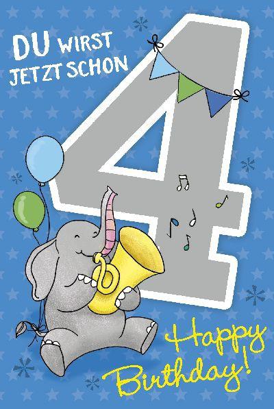 Depesche Zahlenkarten mit Musik Du wirst jetzt schon 4 Happy Birthday