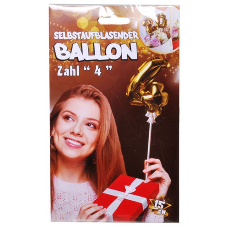 Folien Ballon zum Geburtstag mit Zahl 4 selbstaufblasend Farbe gold