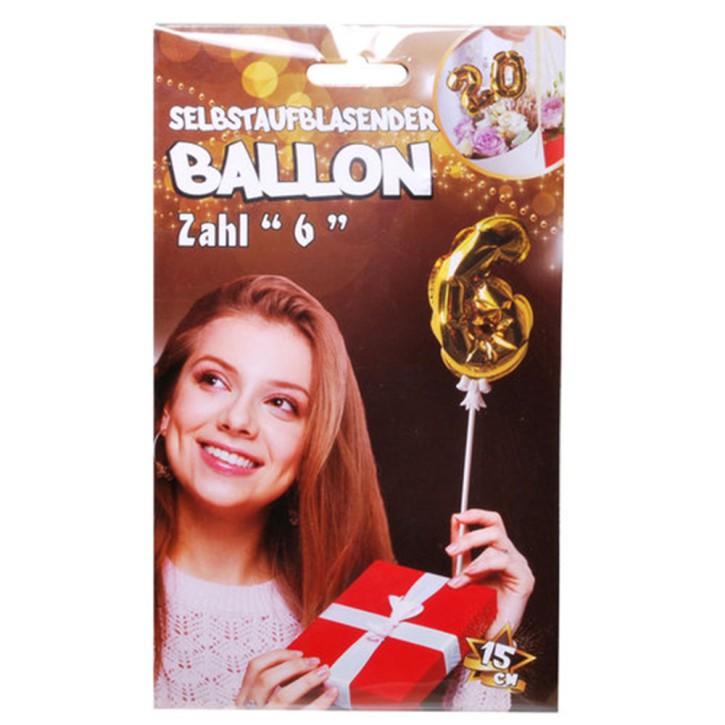 Folien Ballon zum Geburtstag mit Zahl 6 selbstaufblasend Farbe gold