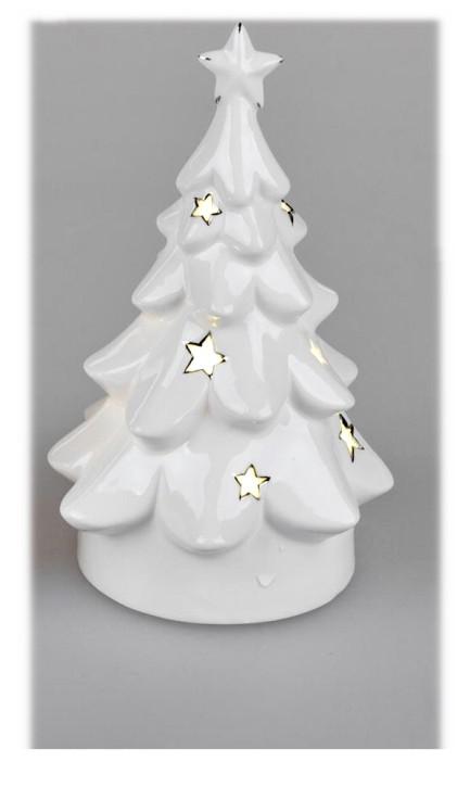 Deko-Baum mit LED-Licht 11x20cm aus weiss-glasiertem Steingut Timerfunktion