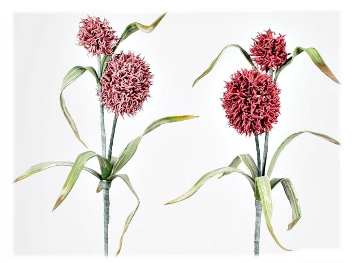 Dekozweig Kugelzweig mit Blätter 104cm 1 Stück in Farbe rot oder altrosa Schaumstoff