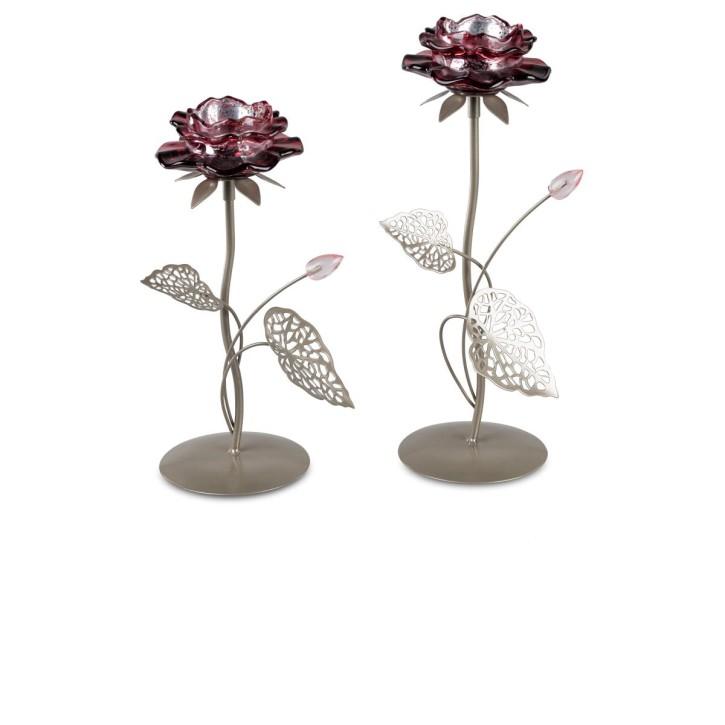 Leuchter  1flm.  Seerosen Blüte beere-silber aus Metall sortierter Artikel Lieferumfang 1 Leuchter 26cm oder 31cm