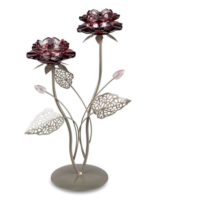 Leuchter  2flm 36cm  Seerosen Blüte Kerzenständer beere-silber aus Metall
