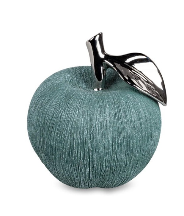 Deko-Apfel grün-silber 13cm aus Keramik matt Boden mit Filz-Sticker