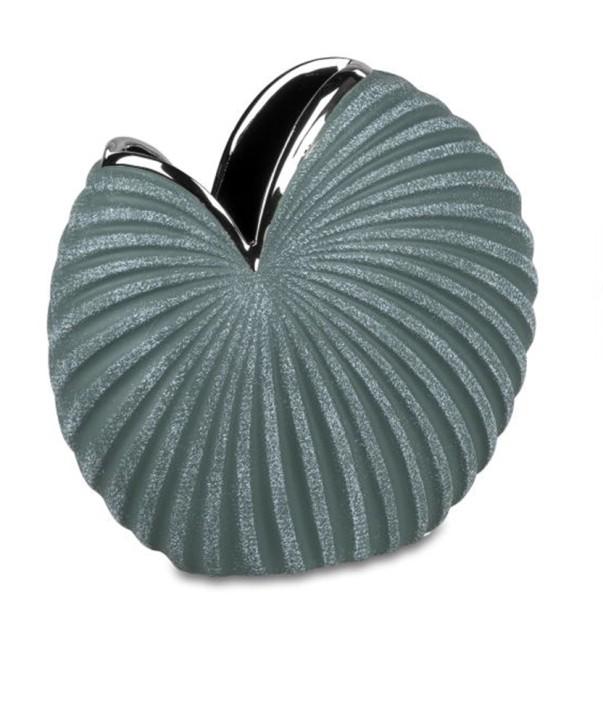 Vase rund petrol grün-silber 19x19cm aus Keramik matt reliefierte Oberfläche