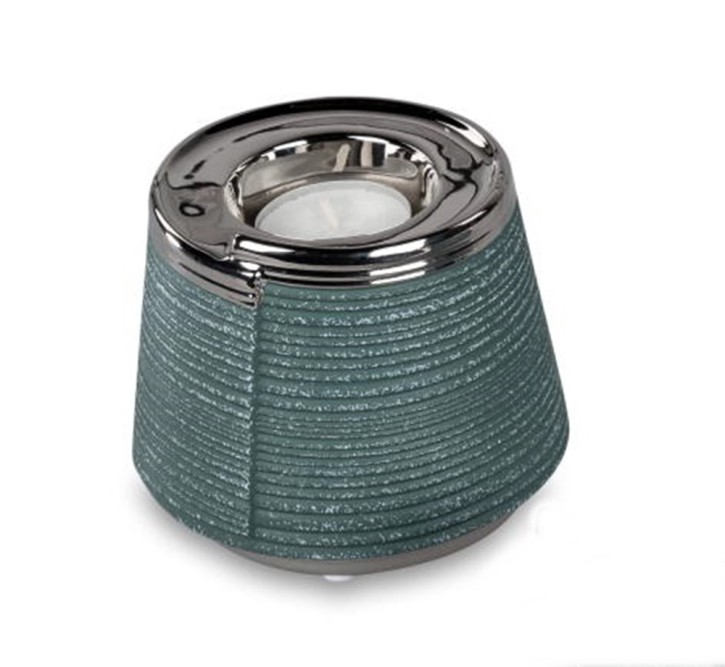 Dekorativer Teelichtleuchter 11cm petrol  grün-silber Keramik matt reliefierte Oberfläche