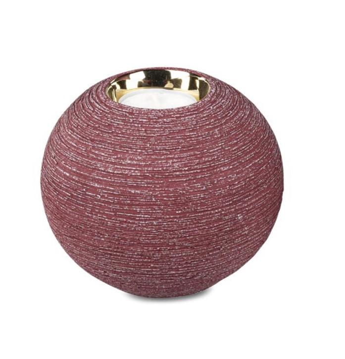 Teelichtleuchter berryrot-gold 12cm Kerzenleuchter Keramik matt goldener Rand