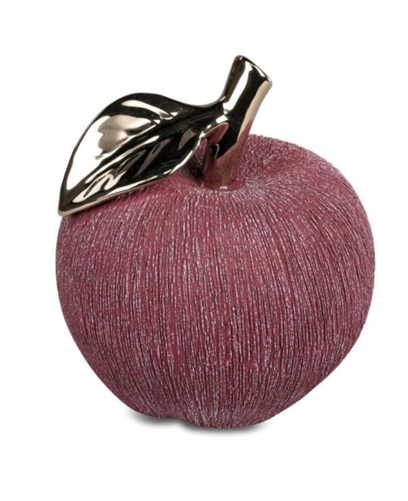 Deko-Apfel berryrot-gold 13cm aus Keramik matt Boden mit Filz-Sticker