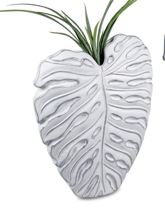 Vase Blatt 32cm Dekovase antik weiß  mit silber Blumenvase aus Keramik