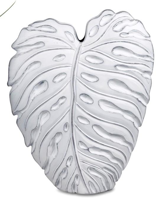 Vase Blatt 42cm Dekovase antik weiß  mit silber Blumenvase aus Keramik