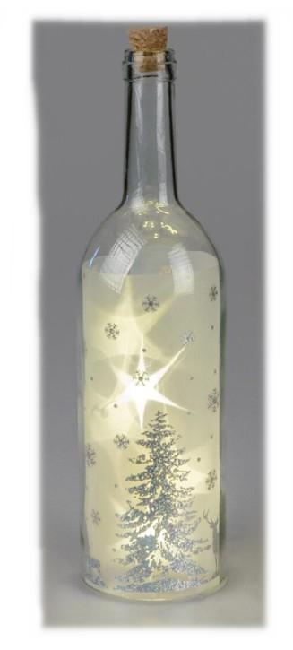 Deko-Glas mit Licht 9x33cm aus klarem Glas Deko-Flasche mit winterlichem Dekor LED