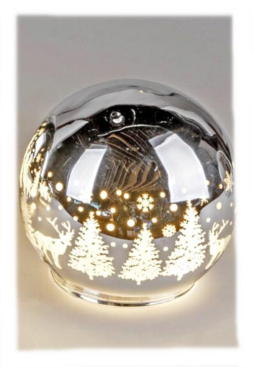 Deko-Kugel mit LED-Licht Glaskugel 12cm mit winterlichem Dekor LED Timerfunktion