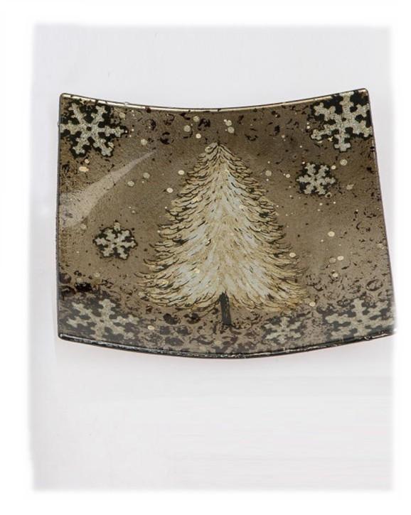 Glasteller Weihnachten Deko-Teller weihnachtliche Dekor 19x19cm farbiges Glas Motiv Weihnachtsbaum